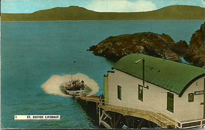 ST. DAVIDS LIFEBOAT LAUNCH, Coloured Photographic Postcard.