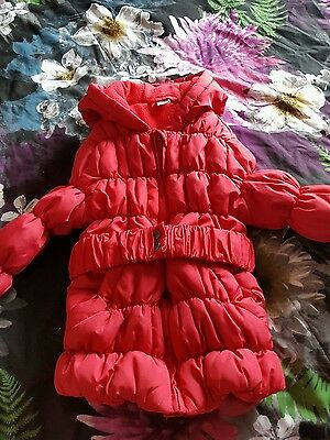 red quilted belted jacket age 2-3