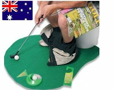 Green Toilet Bathroom Mini Golf Mat Potty Sitting Putter Putting Game Gift Toys