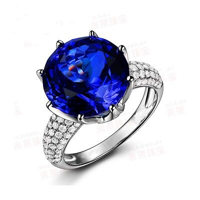 Women Solitaire 8ct Sapphire Cz 925 silver Couple Wedding Band Ring Sz 8/P Gift
