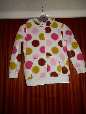 Next-6 years,White Pile Hooded Jacket.Large Multi Spots,Pkts, Zip.100% Polyester