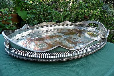 Serving Tray galleried Sheffield Plate Silver on copper heavy superb antique