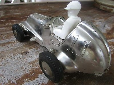 Vintage hard plastic Louis Marx wind up works race car #11 driver good tires USA