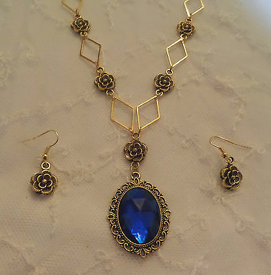 Victorian Style- Diamond Rose - Deep Blue Ac Crystal Gold Plated Necklace Set
