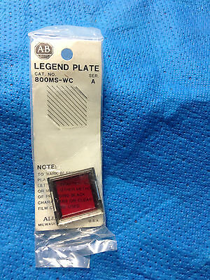 Allen Bradley Legend Plate 800MS-WC   Series A   Red   NIB