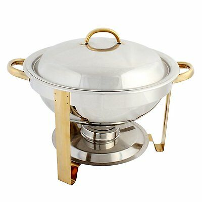 Excellante Stainless Steel 4-Quart Gold Accented Round Chafer, Chafing Dish