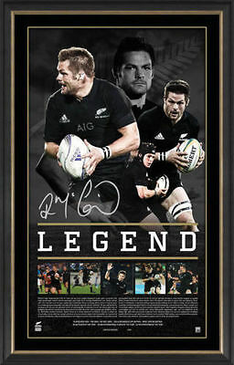 Richie McCaw Signed All Blacks Legend Official Print Framed 2015 World CHAMPIONS