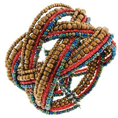 BRONZE RED PEACOCK BEADS BRAIDED MEMORY WIRE CUFF bracelet