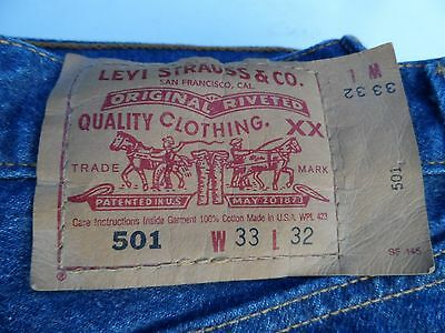 LEVIS true vintage 501 red tag mens jeans 33 x 32 old stock !