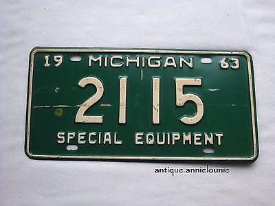 *1963 MICHIGAN Vintage License Plate SPECIAL EQUIPMENT # 2115