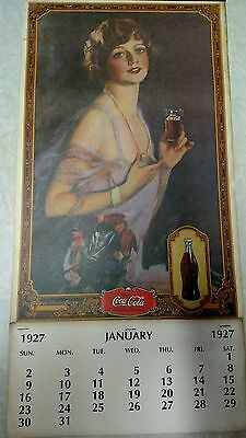 1927 COCA-COLA LARGE ADVERTISING CALENDAR METAL STRIP &  PAD COKE repro 1970