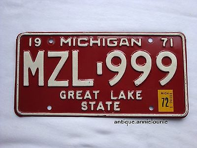 *1971 tag 1972 MICHIGAN Vintage License Plate  # MZL-999
