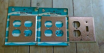 Three Vintage Hammered Look Antique COPPER Electrical Outlet Covers Wall Plates