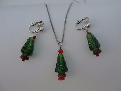 VINTAGE Sterling Silver & Glass Christmas Tree Earrings & Pendant with Chain