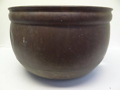 Antique Old Zippered Copper Metal Bread Making Mold Large Bowl Planter Pot
