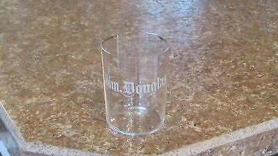 Pre Pro Etched Beer Whiskey Glass Jim Douglas Whiskey about 1900 Era, Kentucky