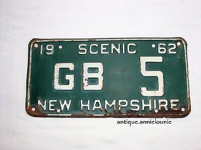 *1962 NEW HAMPSHIRE SCENIC Vintage License Plate LOW NUMBER # GB 5