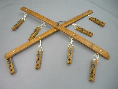 1930-40's Bamboo Folding Delicates Clothes Hanger Clothespins Lingerie Stockings