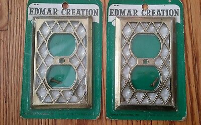 2 Vintage Edmar Creation Brass Pearl 135D Single Metal switch plate covers Rare