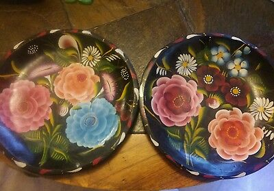2--Vtg Hand Painted Mexican Batea Bowls Carved Wooden Folk Art 11 inch