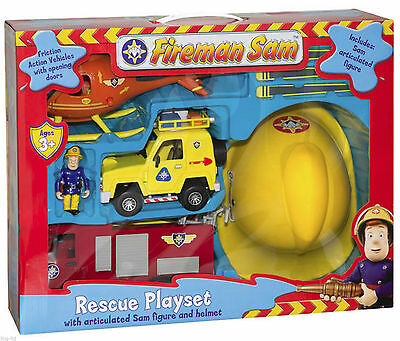 Fireman Sam Playset Toy Bundle Helmet Friction Fire Engine Helicopter Figure NEW