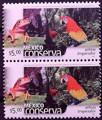 Mexico Conservation Perm Series Vert Pair Rain Forest $5 Frog Parrot Trees MNH
