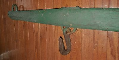 Primitive Antique LONG Yoke (Wood farm Upcycle)WROUGHT IRON HOOK+ Loops each end