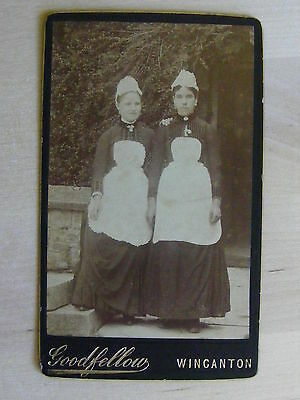 Antique Cdv Photo Two Young Girls In Service Wincanton By Goodfellow