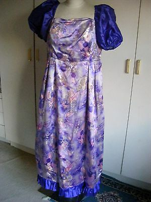 Theatrical Christmas pantomime dame dress drag-queen purple lurex & gold large