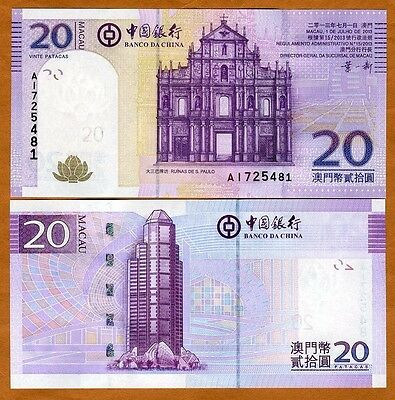 Macao / Macau, 20 Patacas, 2013, Bank of China, P-109b, UNC