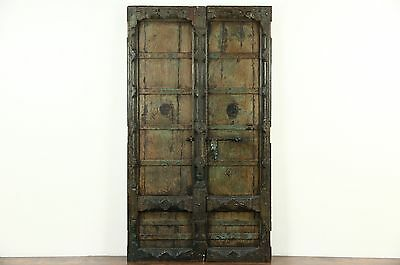 Pair of Dutch East Indies Antique Teak Doors, Iron Mounts, Salvage