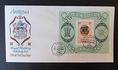 Antigua 1981 Royal Wedding MS Miniature Sheet FDC First Day Cover Charles