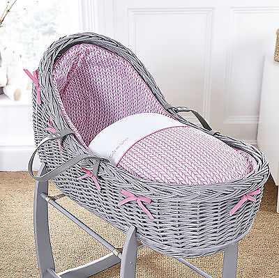 New Clair De Lune Pink Barley Bebe Grey Wicker Willow Bassinet Baby Moses Basket