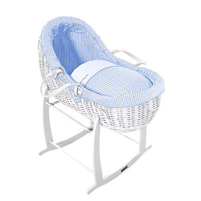 Clair De Lune Blue Barley Bebe White Wicker Willow Bassinet Baby Moses Basket