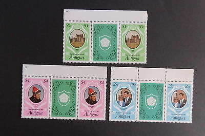 Antigua 1981 Royal Wedding SG702/4 Gutter Pair green MNH UM unmounted mint