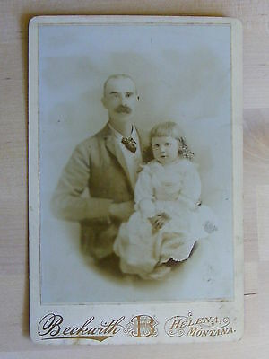 Antique Cabinet Photo Father & Adorable Girl By Beckwith Of Helena Montana