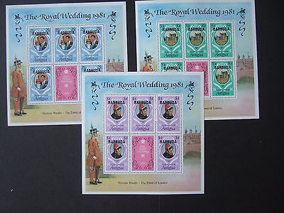 Barbuda 1981 Royal Wedding sheetlets OP MNH UM unmounted mint Charles Diana
