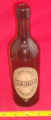 1870's Hop Bitters Label Glass Bottle SK NORTH of IRELAND BREWERY LONDONDERRY