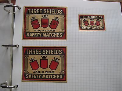 3 Old Swedish Three Shields Matchbox Labels.
