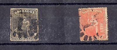 Barbados QV 1860s Set of 2 Classic Stamps Used X4609