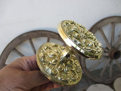 Architectural Salvage Vintage Lovely Brass Complete Large Knob Handle Outside