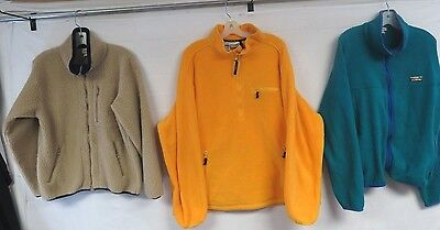 LOT OF 3 FLEECE JACKETS L.L. BEAN MENS ZIP #1 & #2 GRADE VINTAGE 90s MED-XL