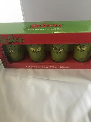 Dr Seuss 4 Faces of the GRINCH 16 oz Glasses Set of 4 Pint Tumblers NEW in Box