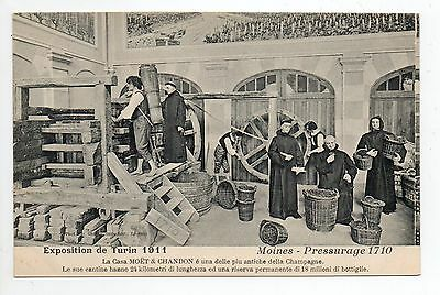 CHAMPAGNE CPA 51 Vins Vignes et thémes EXPOSITION TURIN 1911 moines pressurage