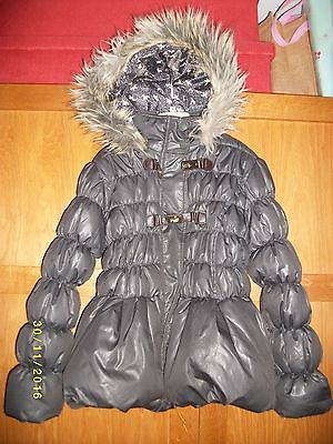 Girls NEXT Puffa Coat. Age 9-10 years. Grey. Fur around hood.
