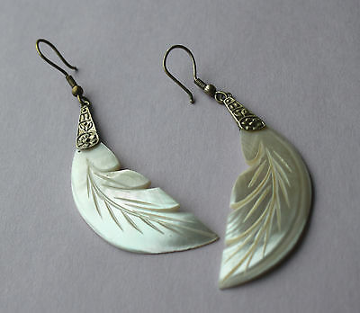 Vintage Mother of Pearl Carved Shell Feather Dangle Earrings