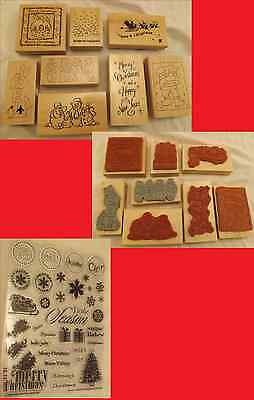 Wood Backed Christmas Rubber Stamps X 8 & Extra For Craft  Scrapbooking Stamping