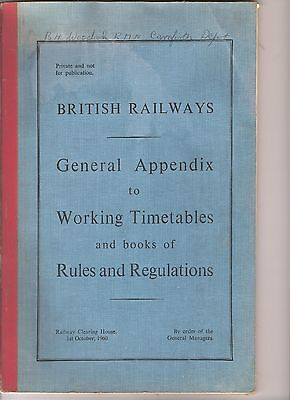 British railways general appendix to working timetables and regulations book