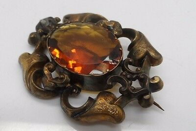 Large Decorative Victorian Gold Plated & Orange Stone Brooch No Reserve