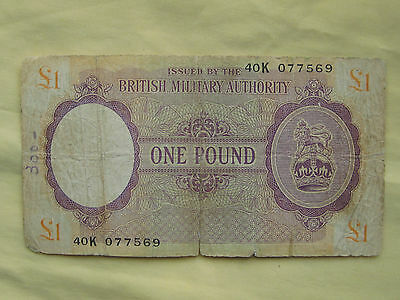 One Pound Bank Note British Military Authority